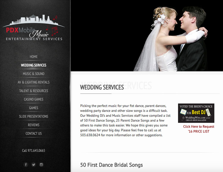PDX Mobile Music Entertainment Wedding Page