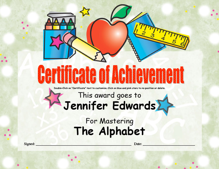 K-3 Certificate of Acheivement
